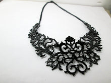 Load image into Gallery viewer, black metal lace bib necklace