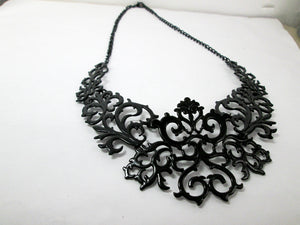 black metal lace bib necklace