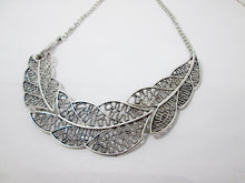 Load image into Gallery viewer, silver filigree leaf sideways necklace