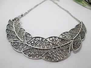 large metal feather sideways necklace