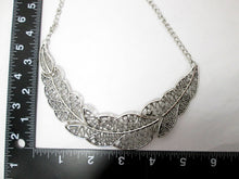 Load image into Gallery viewer, large filigree leaf sideways necklace with measurement