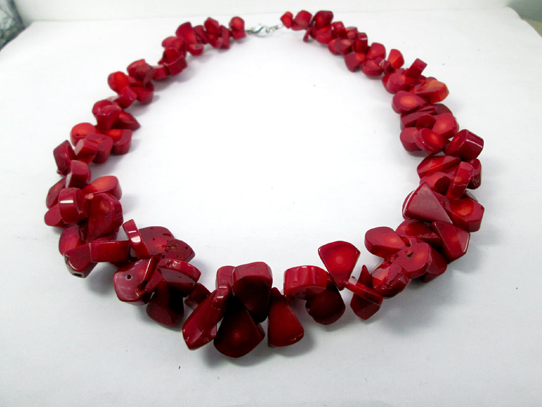 red coral bib necklace