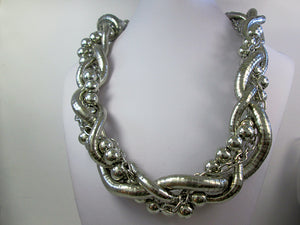 large silver braided necklace