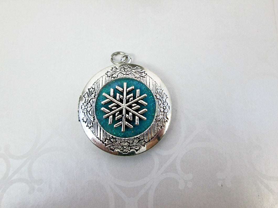snowflake frozen locket necklace
