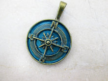 Load image into Gallery viewer, antique bronze blue compass pendant