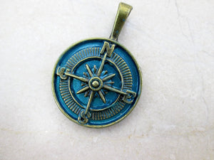 antique bronze blue compass pendant