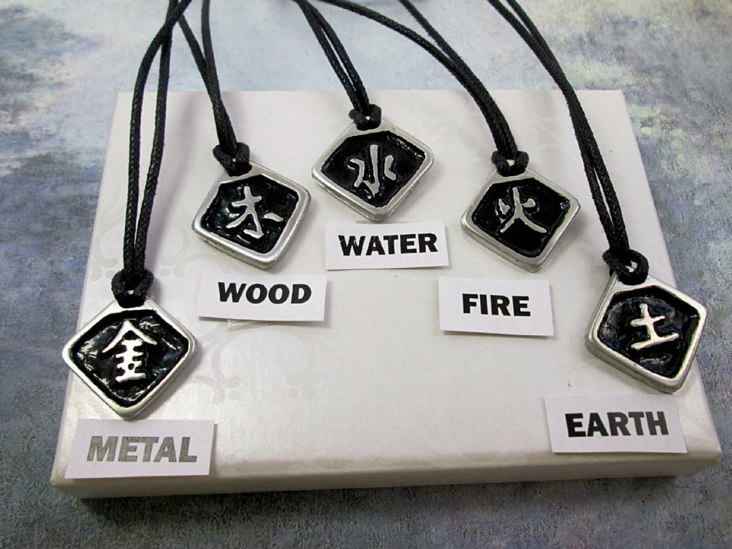 metal wood water fire earth element necklace Chinese symbol pendant necklace