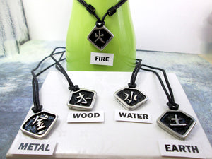 """Metal, Wood, Water, Fire, Earth"" Element Chinese Symbol pendant necklace"