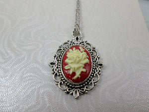 flower cameo necklace