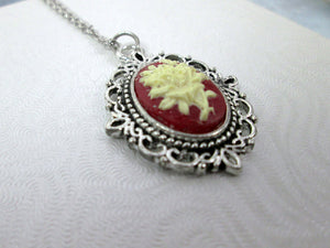victorian flower cameo necklace
