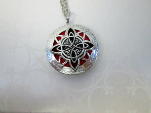 celtic trinity cross locket necklace