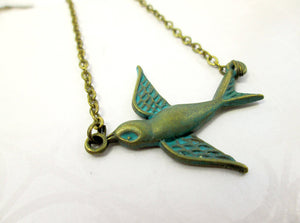 antique bronze small bird necklace