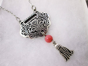 heart lock tassel necklace