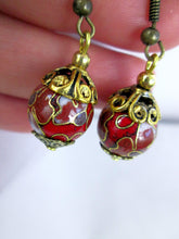 Load image into Gallery viewer, red cloisonne earrings