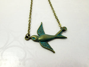 vintage inspired small bird necklace