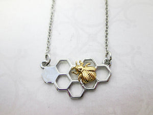 honey comb bee necklace
