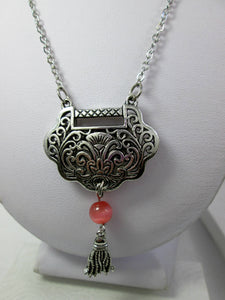 antique silver lock necklace