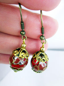 antique style red earrings