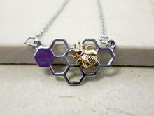 Load image into Gallery viewer, honey comb bee pendant