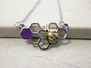 honey comb bee pendant