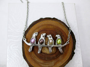 4 birds on a branch necklace