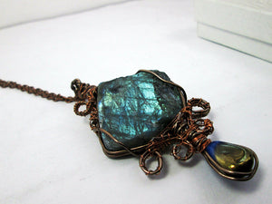 wire wrapped labradorite pendant necklace