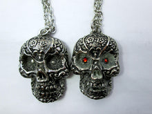 Load image into Gallery viewer, Glow In The Dark Sugar Skull pendant necklace