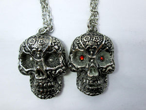 Glow In The Dark Sugar Skull pendant necklace