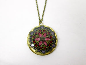 round filigree mandala locket necklace