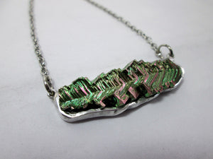 rainbow green bismuth necklace