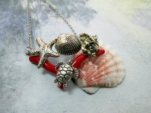 red coral and sea charms necklace