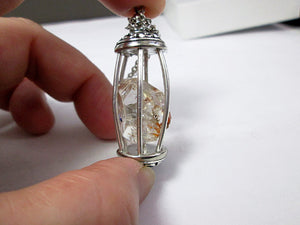 raw diamond cage pendant