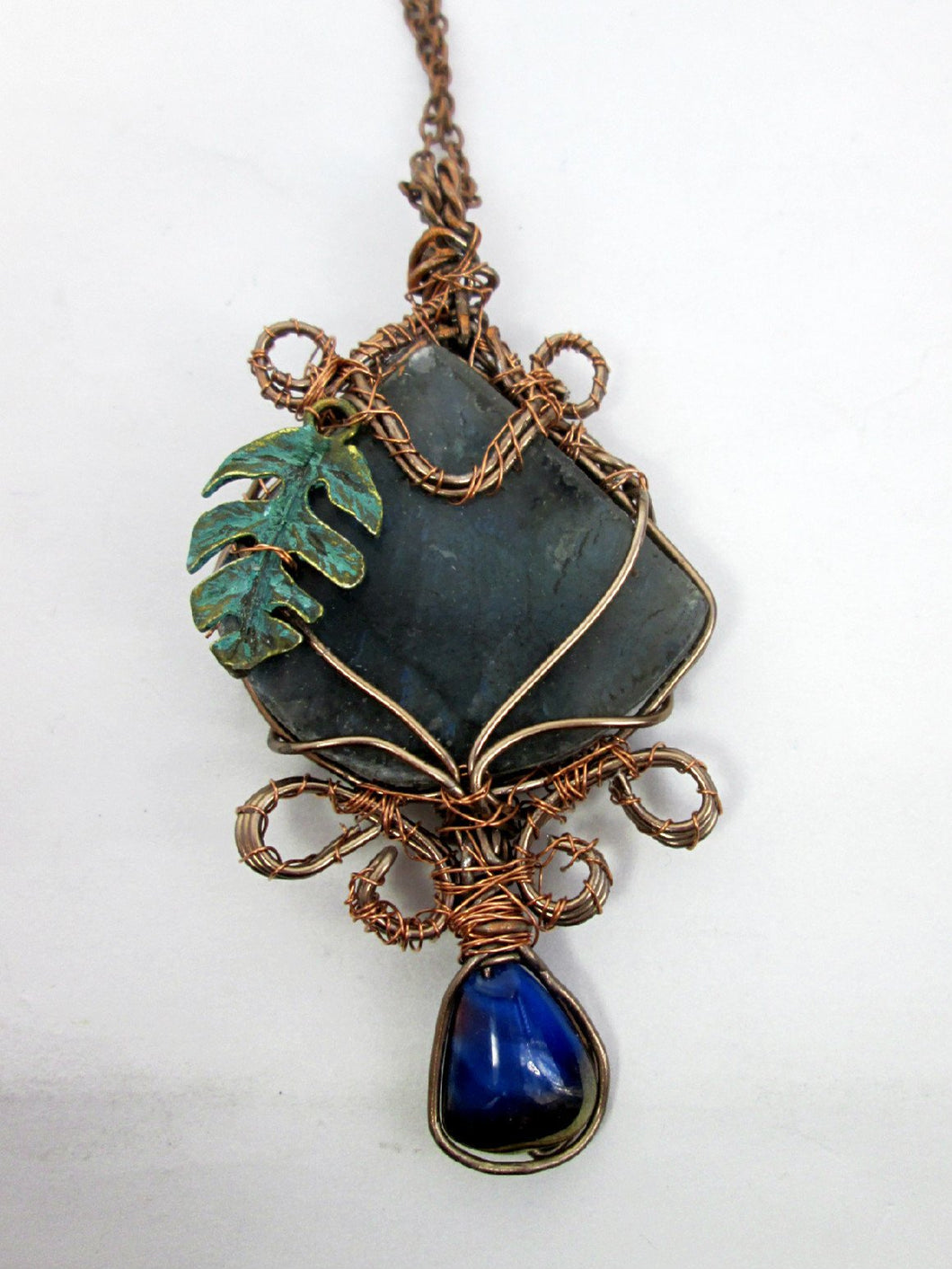 hand wrapped labradorite pendant necklace