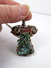 Load image into Gallery viewer, hand wrapped red tiger eye and labradorite pendant necklace