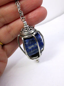 floating stone lapis necklace