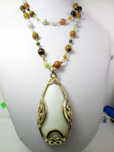 chunky white stone necklace