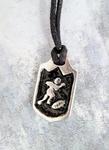 football player pendant necklace
