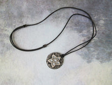 Load image into Gallery viewer, flower pentagram necklace on adjustable cotton cord