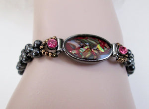 red abalone shell magnetic bracelet