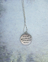 Load image into Gallery viewer, I love you to the moon and back message pendant