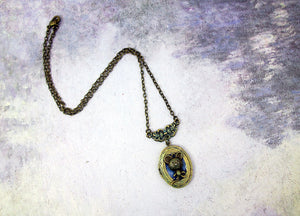 vintage inspired mouse locket pendant necklace