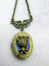 Load image into Gallery viewer, little mouse locket necklace
