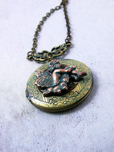 cherub locket pendant