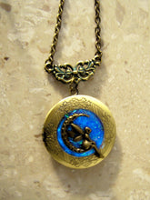 Load image into Gallery viewer, glow in the dark moon fairy locket necklace