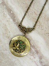 Load image into Gallery viewer, antique bronze filigree bird locket necklace