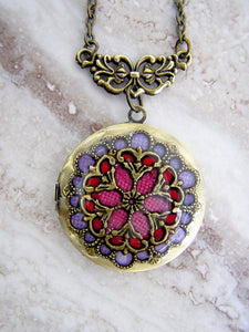 red and purple fancy wedding locket