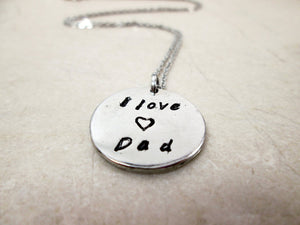 I love dad hand stamped necklace