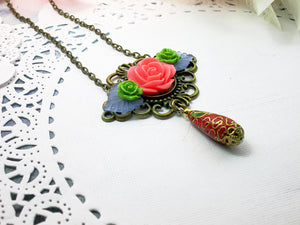 Cloisonne Flower necklace