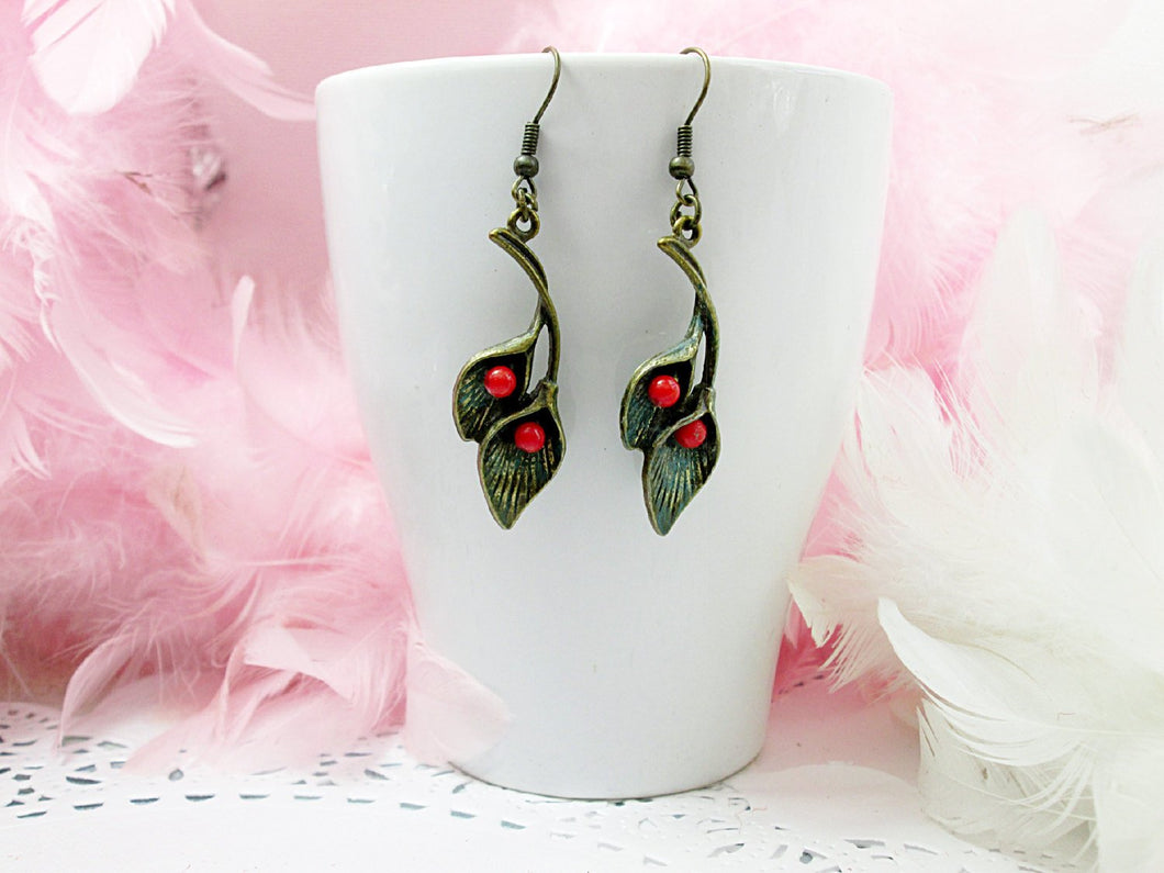 red calla lily flower earrings