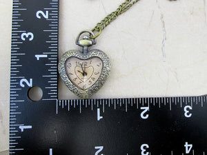 antique style heart shape watch necklace